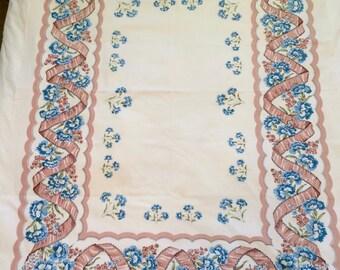 Vintage Blue Carnation Table Cloth
