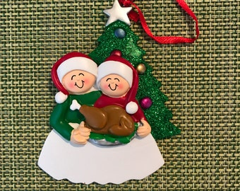 Personalized Family of 2 Christmas Ornament