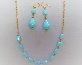 Peruvian blue opal jewelry set.