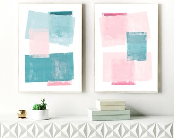 Teal and Pink Abstract Art, Set of Two Minimalist Paintings, Modern Wall Art, Original Wall Art, Affordable Art