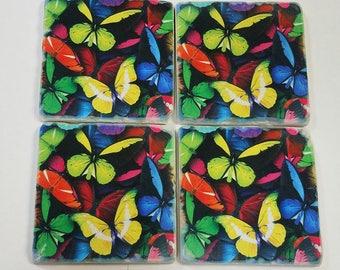 Bright Butterflies Tumbled Stone Coaster Set