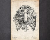 Rib cage anatomy print Skeleton print Gothic home decor Medical art CA022