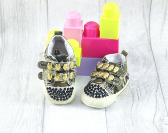 Punk Rock Baby Shoes Soft Sole Skull Camo 3-6 months