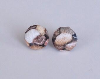 Tiny Pebbles fabric stud earrings - small