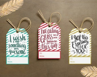 x21 Funny Christmas Gift Tags - Instant Printable Downloads