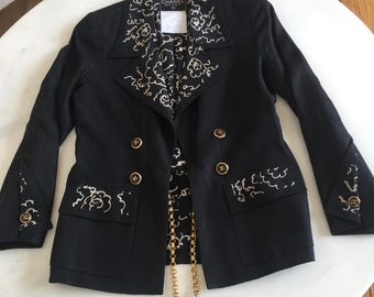 Vintage CHANEL 93P Black CC Logo Scribble Skirt Suit Set Jacket Coat w Gold Chain BELT 38 4