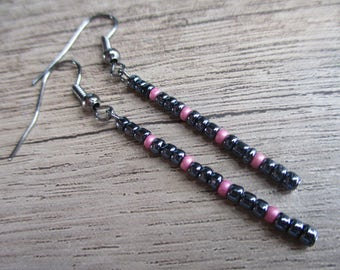 Beaded Earrings - Charcoal and Pink