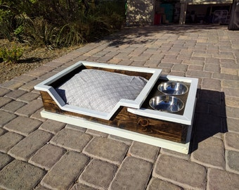 Dog Bed with Food and Water Bowls