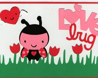 Love Bug Valentine Paper Piecing Premade Scrapbook Card