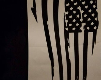 American flag made out of black vinyl