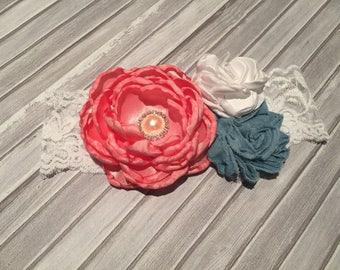 Coral and Denim Flower Headband