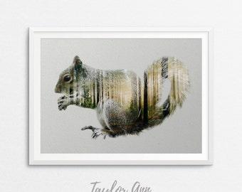 Squirrel Print, Double Exposure, Digital Art Print, Printable Woodlands, Woodland Decor, Forest Animal, Double Exposure Animal, Squirrel