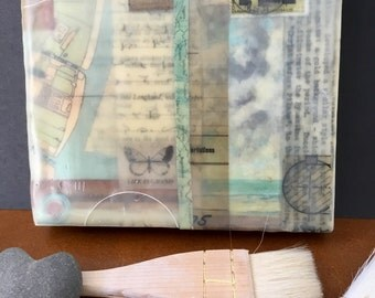 Encaustic Wax panel, Mixed Media Collage, 'Life Is Grand'