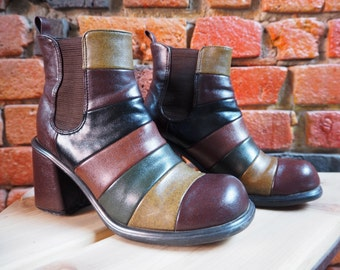 Women's 90s Brown Green Black Striped Stripy Heeled Ankle Boots With Elastic Detail Size 6