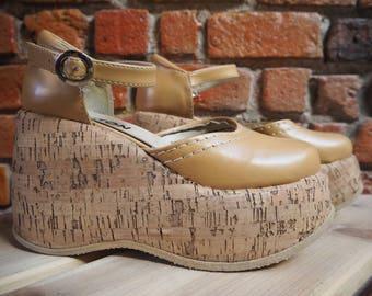 Women's 90s Beige Cork Platform Wedges Sandals Size US 8.5