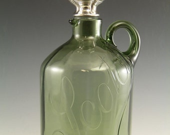 STEVENS and WILLIAMS Crystal - Silver Topped Scotch Whisky Jug