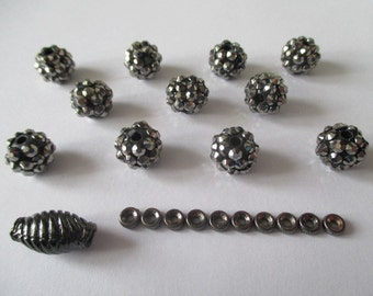 Black Lucite Bumpy Beads with Spacers and Barrel