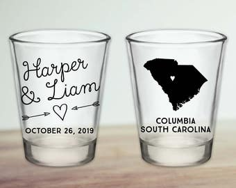 Custom South Carolina Wedding Favor Shot Glasses