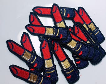 Ag/lipstick/red lip/heart/love/beauty/women/free shipping iron on patch /embroidery appliqués/stitch work