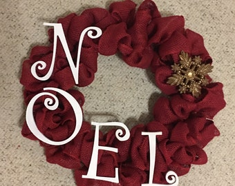 Burlap wreath christmas wreath noel burlap wreath