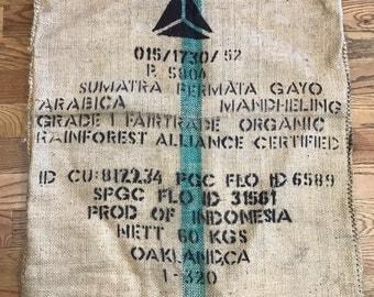 Organic coffee burlap sack