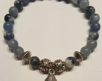 Avenurine beaded bracelet, silver accents, Buddha head charm