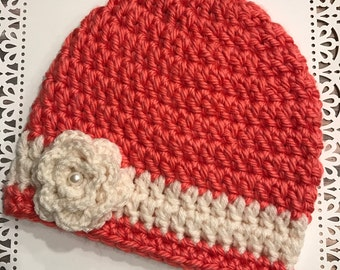 Woman's Crocheted, Handmade, Winter / Springtime Striped Hat / Beanie with flower embellishment