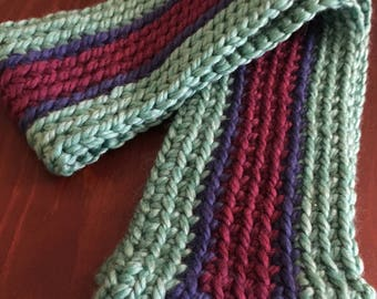 Crochet Infiniti Scarf (Green, Blue and Purple)