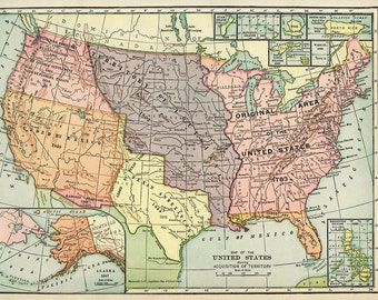 Hammond's Vintage Map of USA 1904