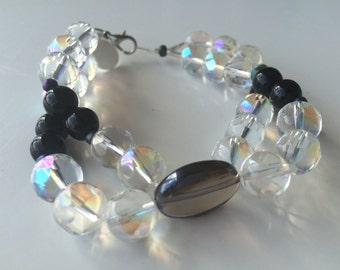 Multi Strand Clear and Black Crystal Beads