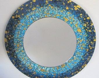 Reverse Painted Mosaic Art Glass Mirror