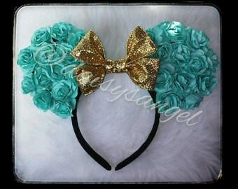 Aqua Blue Floral Ears