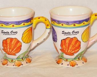 "2 - Vintage Santa Cruz California 5"" tall large coffee mug."