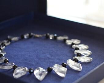 Crystal quartz  crystal quartz necklace  angel aura quartz , quartz leaves  black onyx necklace black necklace elegant necklace