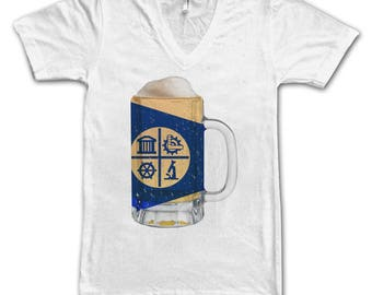 Ladies Minneapolis City Flag Beer Mug Tee, Women's Tee, Beer Tee, City Pride Tee, Beer T-Shirt, Beer Lovers Tee, Beer Thinkers, Beer, Minn.