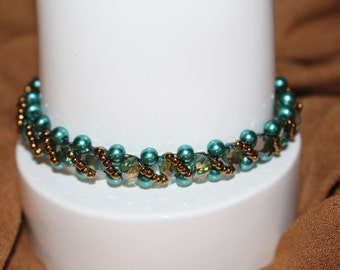 Teal-elegant beaded right angle weave  bracelet