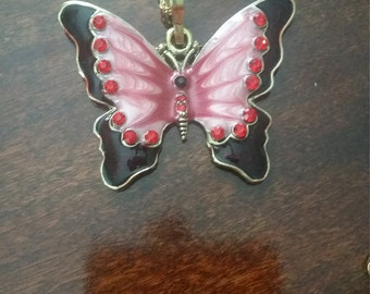 Red Butterfly Pendant Necklace