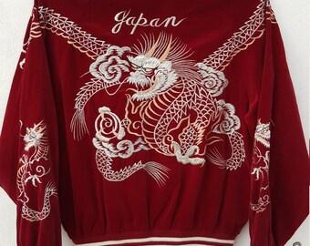 Vintage Sukajan Red Velvet Dragon Embroidery Sourvenir Jacket