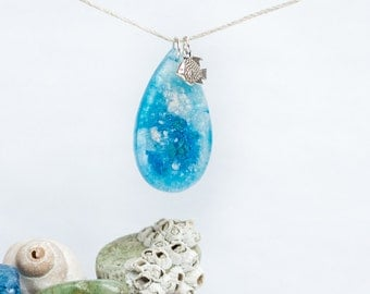 Tear Drop Wave Pendant with Fish Charm necklace
