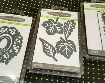 3 pk. Bundle - Darice Embossing Essentials Detailed Cutting Templates : Set of 3 - Leaves, Foliage Border, Oblong Frames