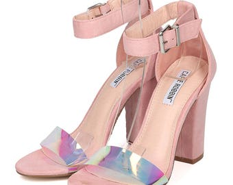 Cape Robbin Lisa Holographic single strap heels