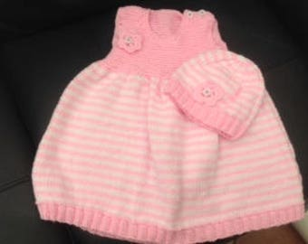 Hand knitted baby dress and hat (6 - 12 months)
