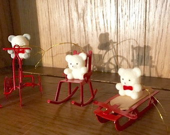 Avon Teddy Bear Ornament Collection, Christmas, (set of 4), flocked bears, collectible