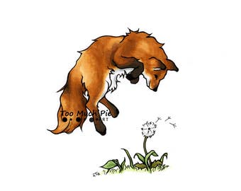 Fox playing with a Flower
