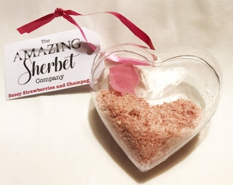 Strawberries and Champagne sherbet heart decoration