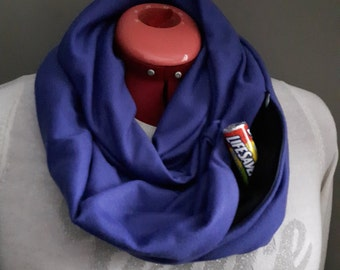 Pocket scarf, infinity scarf with pocket, travel scarf. This scarf is a real lifesaver!