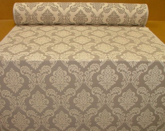 Deisgner Heavyweight Cream Damask Chenille Velvet Curtain Fabric Upholstery