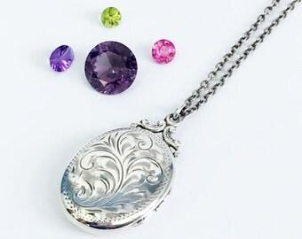 Large Birks Oval Sterling Silver Locket Necklace - Hand Chased Vine Design Vintage - Photo Pendant