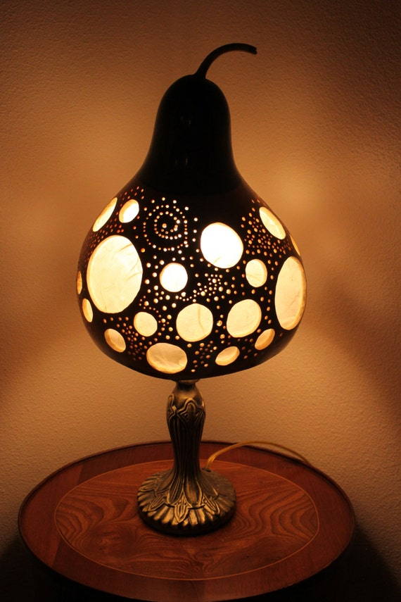 Gourd lamp 7 unique handmade carved and drilled gourd lamp - Unique handmade lamps ...