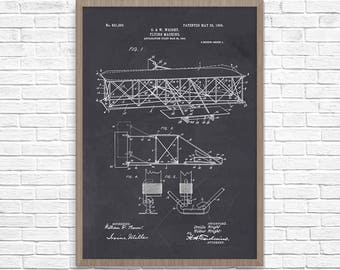 Wright Brothers Patent, Airplane, Airplane Patent, Airplane Art, Airplane Wall Art, Aviation, Early Aviation, Wright Brothers Art, Wall Art
